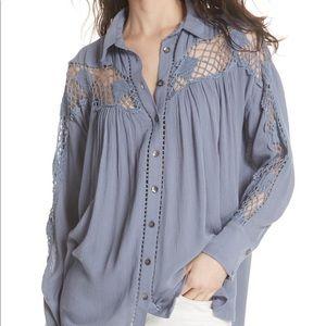 Free People Katie Bird Crochet Inset Shirt